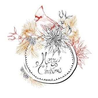 Christmas vintage floral greeting card