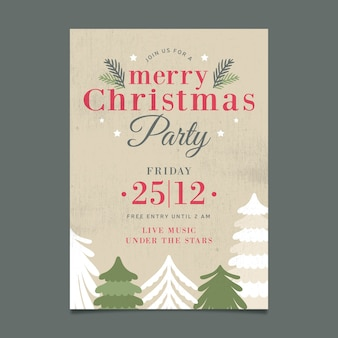 Christmas vintage party poster template