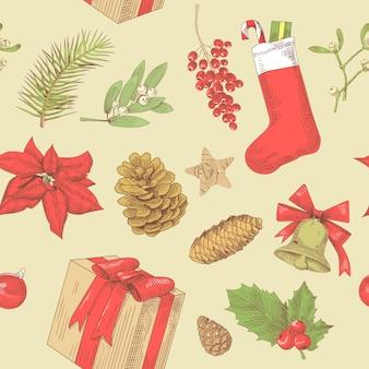 クリスマスヴィンテージシームレスパターン