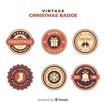 Christmas vintage sepia badges collection