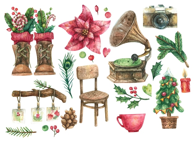 Christmas vintage set of wooden chair, turntable, decorated christmas tree, brown shoes, film camera, big red flower