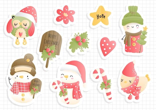 Рождественский старинный снеговик стикер, планировщик и альбом для вырезок.