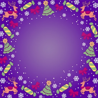 Christmas violet background with reindeers