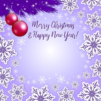Christmas violet background and xmas decorations