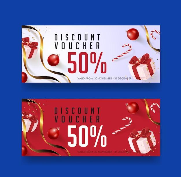 Christmas voucher card banner template.