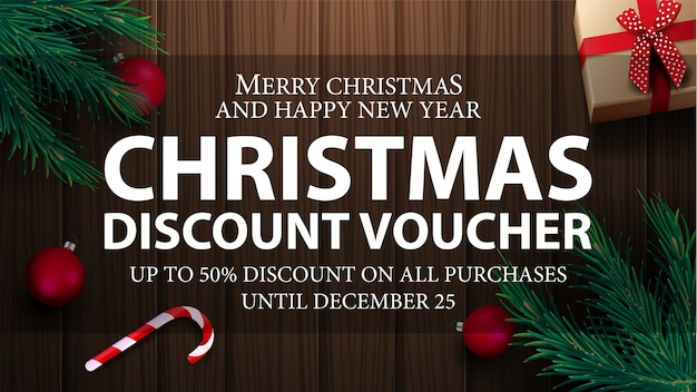 Christmas voucher, up to 50 off on all purchases. christmas discount voucher top view