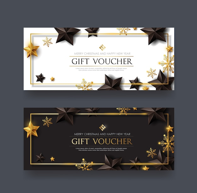 Christmas voucher with black gold stars and snowflake