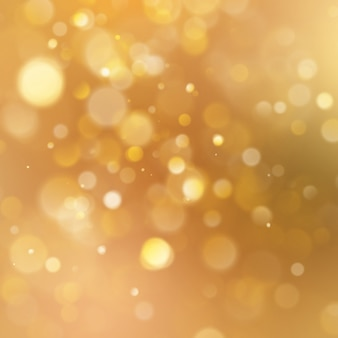 Christmas warm gold background with bokeh light.