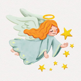 Christmas watercolor angel illustration