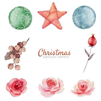 Рождественская акварель элемент ручной росписи