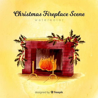 Christmas watercolor fireplace background