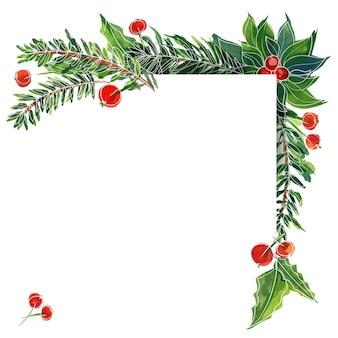Рождественская акварельная рамка с ветвями эля и падубом. подходящая рамка с местом для текста для рождественских и новогодних поздравлений и приглашений.