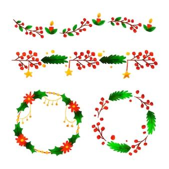 Рождественские акварельные рамки и бордюры