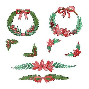 Christmas watercolor frames and borders