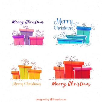 Christmas watercolor gifts pack