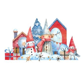 冬の家のモミの木エルフの雪だるまとギフトとクリスマスの水彩イラスト