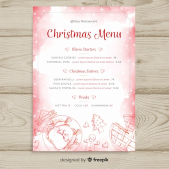 Christmas watercolor menu template