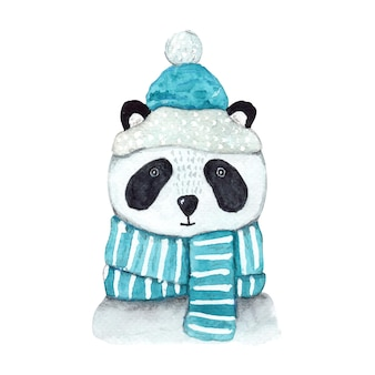 Christmas watercolor panda in blue scarf and hat