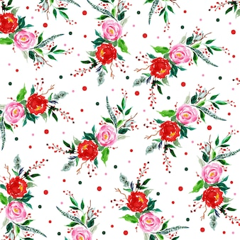 Christmas watercolor pattern background