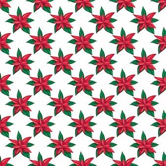 포인세티아 꽃과 함께 크리스마스 수채화 패턴