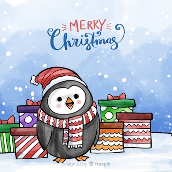 Christmas watercolor penguin background