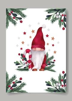 Рождественская акварельная открытка с милым гномом, леденцом и ветками