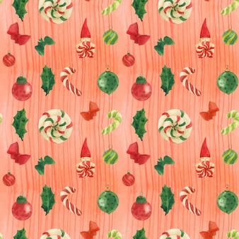 Christmas watercolor red traced watercolor seamless pattern with gnome and candy canes and glass baubles