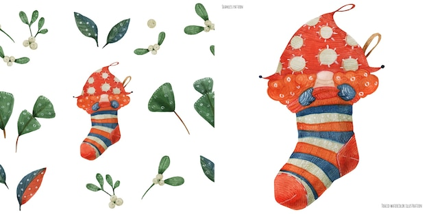 クリスマスの水彩画のシームレスなパターンと靴下の赤いノームの女の子、トレースされた水彩画