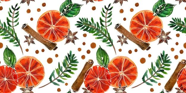 エールとオレンジのクリスマス水彩シームレスパターン