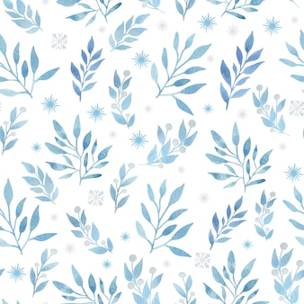 Christmas watercolor   seamless pattern with blue branches