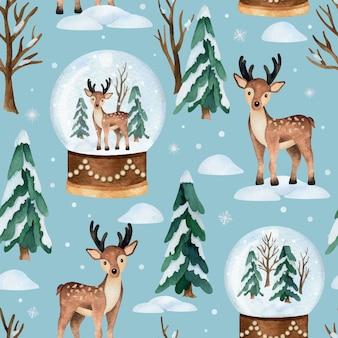 鹿とスノードームのクリスマス水彩シームレスパターン