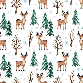 Christmas watercolor seamless pattern with deer and pine trees