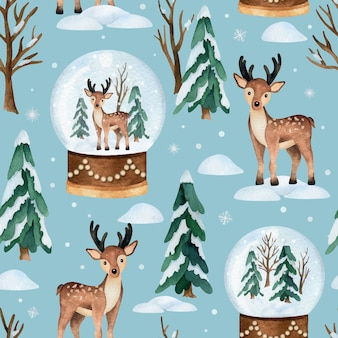 Christmas watercolor   seamless pattern with deer and snow globe