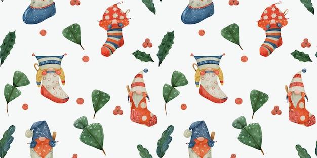 ノームとポインセチアと杉、水彩画のクリスマス水彩シームレスパターン