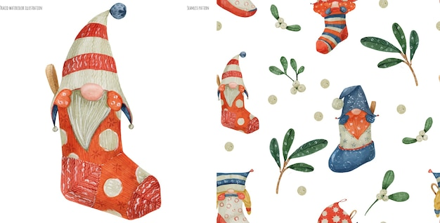 Christmas watercolor seamless pattern with gnomes and plants, traced watercolor
