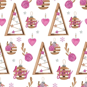 Christmas watercolor seamless pattern with pink and wooden decor