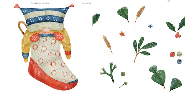 Christmas watercolor seamless pattern with plants and little gnome girl, traced watercolor