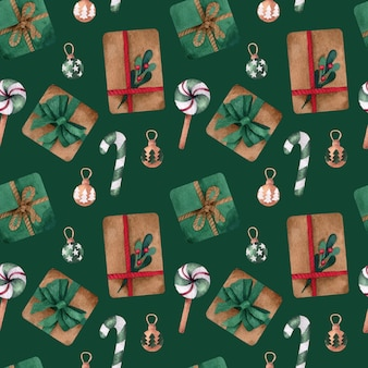 Christmas watercolor   seamless pattern with presents