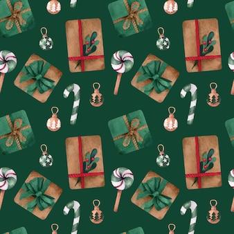 プレゼントとクリスマス水彩シームレスパターン