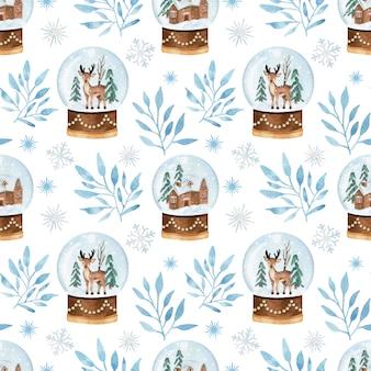 雪玉のグロブと枝とクリスマスの水彩画のシームレスなパターン