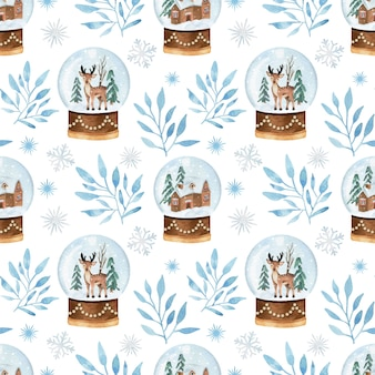 Christmas watercolor seamless pattern with snowball glob and branches