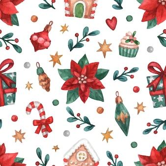 Christmas watercolor seamless pattern