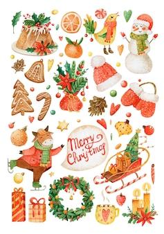 Рождественский акварельный набор наклеек