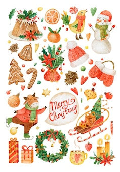Christmas watercolor set of stickers