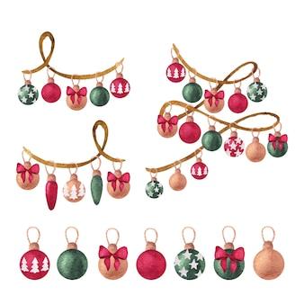 クリスマスつまらないものとセットのクリスマス水彩画 Premiumベクター