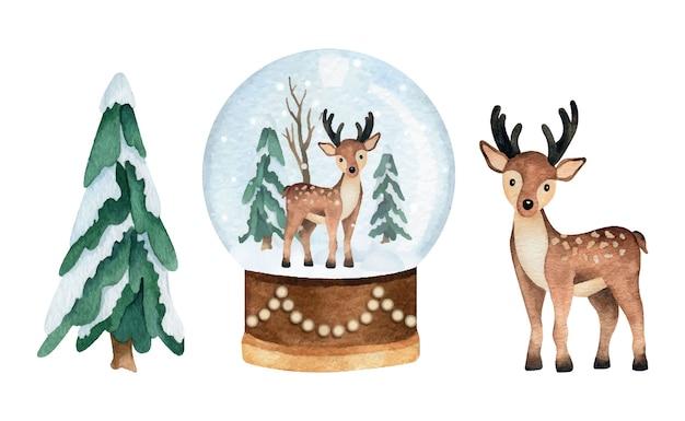 松の木、雪玉の地球儀と鹿がセットのクリスマス水彩画