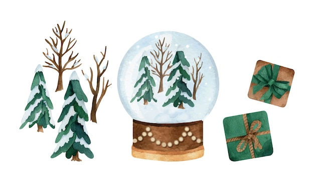 Christmas watercolor set with pine trees, snowball globe and present boxes