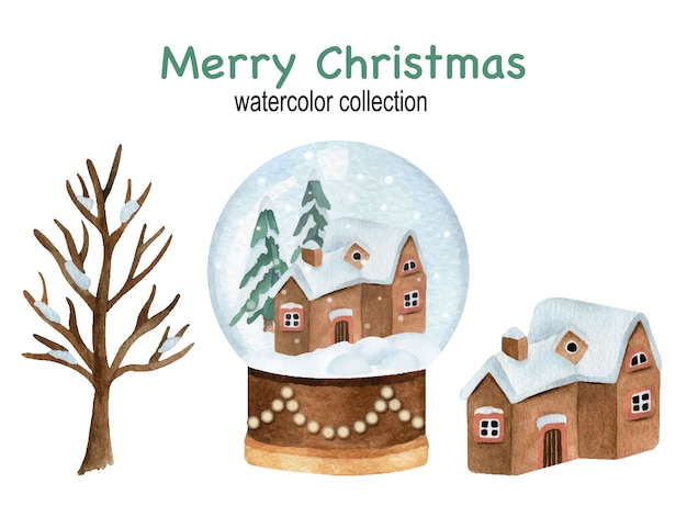 Christmas watercolor set with snowball globe and house