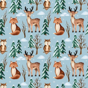 Christmas watercolor vector seamless pattern with forest animals