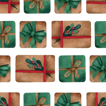 プレゼントとクリスマス水彩ベクトルシームレスパターン Premiumベクター